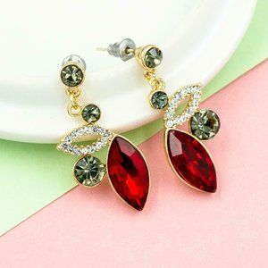 Jewelry - Ruby Red Marquise Smoky Quartz Rhinestone Earrings
